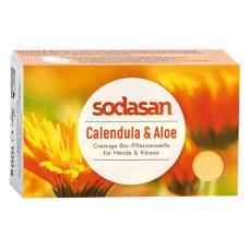 Органическое противовоспалительное мыло-крем для лица и тела Календула-Алоэ, 100 г